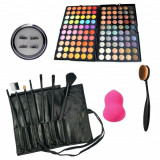 Set kit trusa machiaj 120 culori  7 pensule gene magnetice beauty blender fard