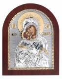 Icoana Maica Domnului Vladimir pe Foita Argint 925 Auriu 15.6x19cm COD: 1393