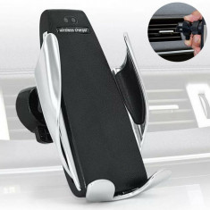 Suport auto inteligent cu incarcator wireless,prindere in grila