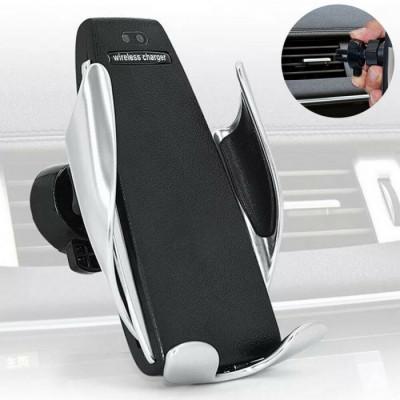 Suport auto inteligent cu incarcator wireless,prindere in grila foto