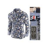 Camasa pentru barbati bleumarin model floral flex fit casual premium Babilon