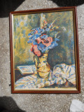 Fred Micos-Natura statica cu flori,litografie color (gravura in piatra)