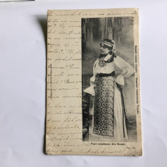 Port românesc din Banat - superbă carte poștală 1906, Circulata, Printata