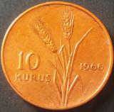 Moneda 10 KURUS - TURCIA, anul 1966   *cod 4082, Europa