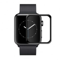 Folie de protectie iUni pentru Smartwatch Apple Watch 42mm 3D Tempered Glass Negru