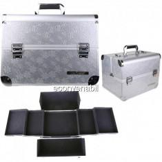 Geanta Cosmetice Produse Manichiura Mare Silver cu Cristale 6283ACSL