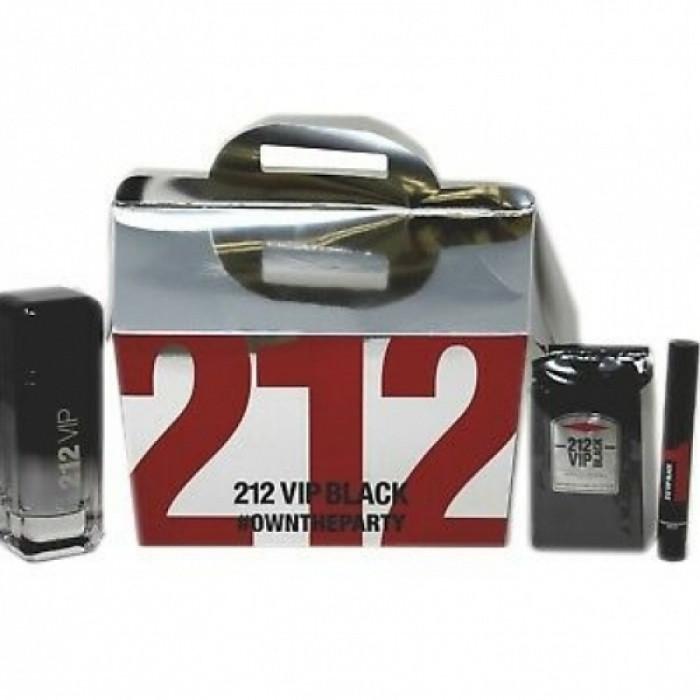 Seturi Barbati, Carolina Herrera 212 VIP Black Apa de Parfum 100 ml + Apa de Parfum 3 ml + 12 pcs Gel de duș x 8 ml, 100 + 3 + 12x8ml