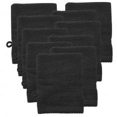 Set 10 bucati manusa baie frottir HTHT-1001, 15 x 21 cm, bumbac, negru