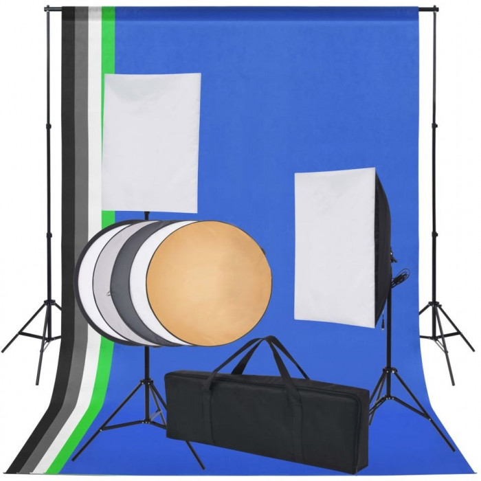 Kit studio foto: 5 fundaluri colorate și 2 softbox-uri