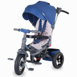 Tricicleta Coccolle Corso multifunctionala roti cauciuc - Albastru