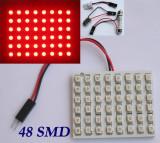 Placuta led cu 48 smd 3528, rosie - contine adaptor soclu C5W, BA9S si W5W