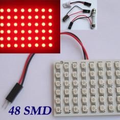 Placuta led cu 48 smd 3528, rosie - contine adaptor soclu C5W, BA9S si W5W, Universal