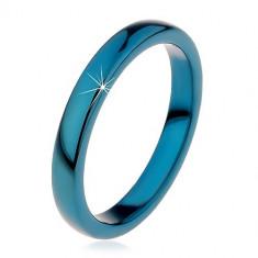 Inel din tungsten -albastru cu suprafață netedă, rotunjită,3mm - Marime inel: 62