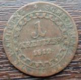 (M73) MONEDA AUSTRIA - 1 KREUZER 1812, LIT. E, MONETARIA ALBA IULIA, MAI RARA
