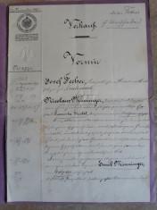 ACTE NOTARIALE VECHI  1893 - MARCA FIXA - TIMBRU SEC - FILIGRAN - CALIGRAFIE foto