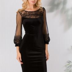 Rochie Ginette neagra din catifea cu floricele 3D si paiete delicate