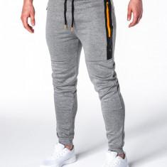 Pantaloni barbati gri slim cu banda siret si buzunare P657