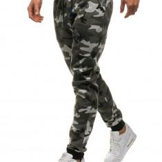 Pantaloni joggers pentru bărbat camuflaj-gri Bolf KK06