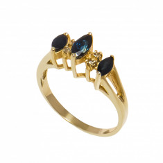 Inel din aur galben 14K cu safire si diamante, circumferinta 51 mm