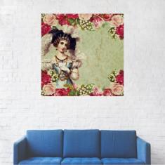 Tablou Canvas, Cadru vintage, Moda, Trandafiri - 30 x 30 cm