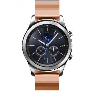 Curea pentru Smartwatch Samsung Gear S3, iUni 22 mm Otel Inoxidabil Rose Gold Link Bracelet
