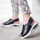 Sandale Piele Erilia negre cu talpa ortopedica -rl