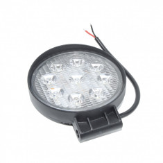 Set 2 x Proiectoare auto, Rotunde, 27W, 9 Led-uri