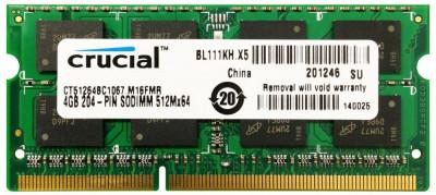 Memorii Laptop Crucial 4GB DDR3 PC3-8500S 1066Mhz CT51264BC1067 foto