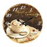 Ceas de perete din sticla My Wake-Up Call Cappuccino ClassGifts 34cm Cod Produs 2453