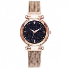 Ceas dama GENEVA CS1019, model Starry Sky, bratara magnetica, elegant, auriu