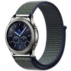 Curea ceas Smartwatch Samsung Gear S3, iUni 22 mm Soft Nylon Sport, Navy Blue - Green