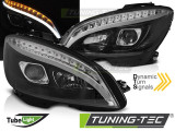 Faruri compatibile cu Mercedes W204 07-10 Negru TUBE LIGHT H7 SEQ INDICATOR