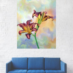Tablou Canvas, Pictura Floare Mov-Galbena - 80 x 100 cm