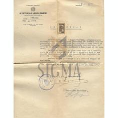 DOCUMENT - CERTIFICAT ARHIEPISCOPIA BUCURESTILOR / HIROTONIRE , PAROHIA PREDEAL SARARI, 1947 - PATRIARHUL VENIAMIN ( SEMNATURA OLOGRAFA! )
