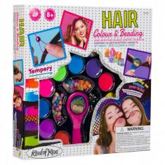 Set creativ pentru fete, model suvite si margele in par, 30x5x30 cm, multicolor