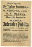 Afis electoral Marea Intrunire Publica : Take Ionescu,Titulescu,Xenopol, cca1920