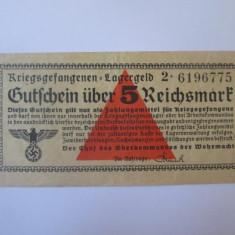 Rara! 5 Reichsmark 1939-1945,bancnota circulata in lagarele prizonieri Germania