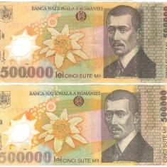 SV * Romania  LOT  BNR  2 x 500000  LEI  2000 polimer semnate Isarescu + Ghizari