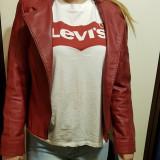 Geacă roșie din piele naturală, 40, Rosu
