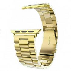 Curea compatibila Apple Watch, metalica, 42/44mm, auriu