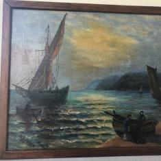 Tablou,pictura veche franceza in ulei,peisaj marin