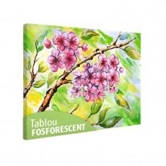 Tablou fosforescent Flori roz