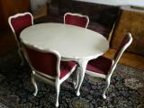 Masa cu 4 scaune baroc stil chippendale vintage
