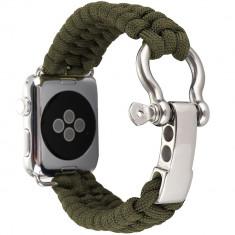 Cumpara ieftin Curea pentru Apple Watch 40 mm iUni Elastic Paracord Rugged Nylon Rope, Green