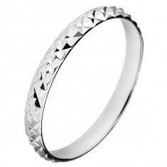 Inel argint lucios - romburi proeminente - Marime inel: 55