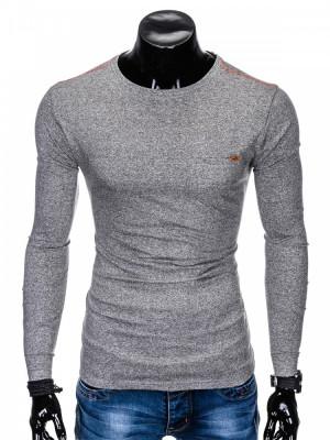 Bluza pentru barbati din bumbac gri simpla slim fit L103 foto