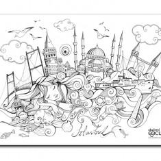 Plansa de colorat reutilizabila din silicon Printesa in Istanbul