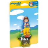 Figurine femeie cu catelus Playmobil 1.2.3