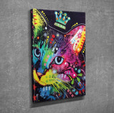 Superb tablou efect 3D - PISICA CU CORONITA culori vibrante  3D - panza/lemn
