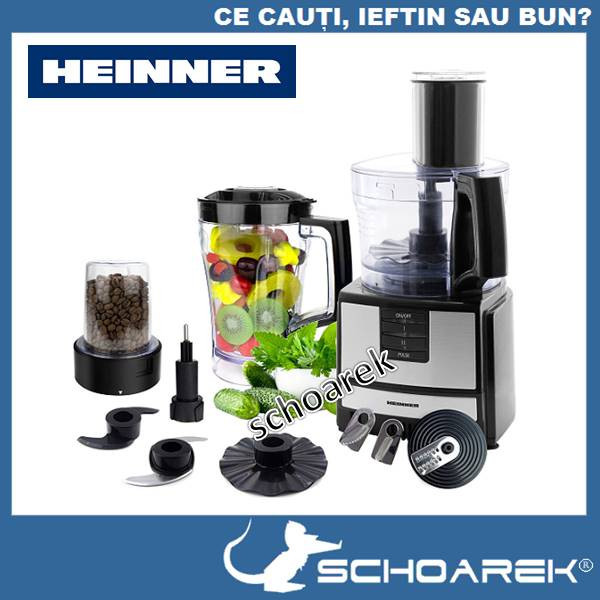 Robot bucatarie Heinner HFP-550IX 550W 2 viteze + Pulse Discuri din inox Blender